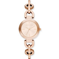 Adrienne Vittadini Rolo-Link Bracelet-Style Fashion Watch in Rose Gold Tone 7.5""