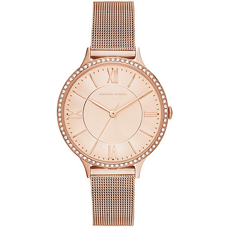 Adrienne Vittadini Crystal Mesh-Link Fashion Watch in Rose Gold Tone Adjustable 7.5