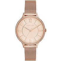 "Adrienne Vittadini Crystal Mesh-Link Fashion Watch in Rose Gold Tone Adjustable 7.5""-8.5"""