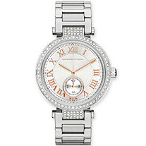 Adrienne Vittadini Crystal Silvertone Fashion Watch with Rose Gold Tone Accents 7.5""