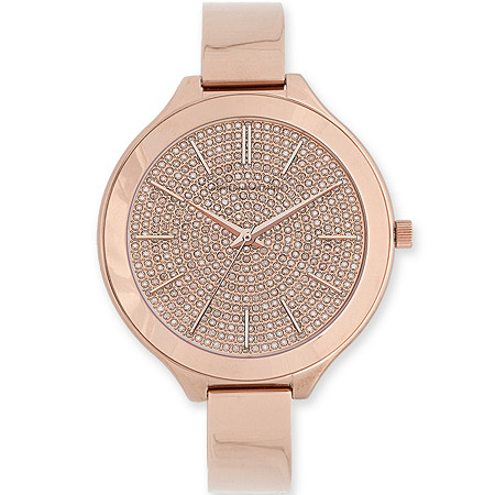 Adrienne Vittadini Crystal Bracelet-Style Fashion Watch in Rose Gold Tone 7.5