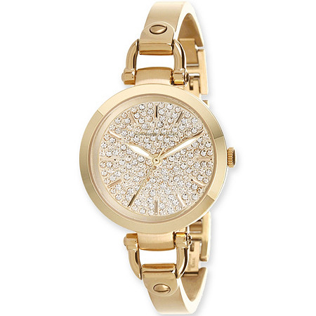 Adrienne Vittadini Crystal Bracelet-Style Fashion Watch in Gold Tone 7.5