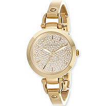 Adrienne Vittadini Crystal Bracelet-Style Fashion Watch in Gold Tone 7.5""