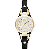 Adrienne Vittadini Crystal and Leather Bracelet-Style Fashion Watch with Silver Face in Gold Tone Adjustable 8""