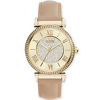 Catherine Malandrino Crystal Fashion Watch with Crystal-Encrusted Face in Gold Tone Adjustable 7.5