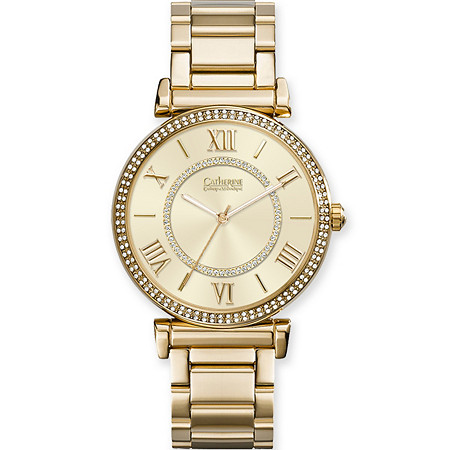Catherine Malandrino Crystal and Mother-of-Pearl Fashion Watch with Crystal Accent Face in Gold Tone 7.5