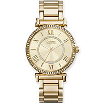 SETA JEWELRY Catherine Malandrino Crystal and Mother-of-Pearl Fashion Watch with Crystal Accent Face in Gold Tone 7.5