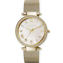 "Adrienne Vittadini Mother-of-Pearl and Crystal Mesh Bracelet-Style Fashion Watch in Gold Tone Adjustable 7.5""-9"""