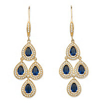 ".90 TCW Pear-Cut Simulated Blue Sapphire and Cubic Zirconia Halo Chandelier Earrings 14k Yellow Gold-Plated (2.25"")"