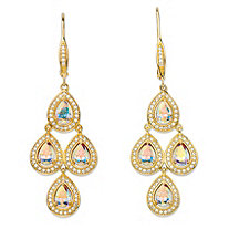 "4.74 TCW Pear-Cut Aurora Borealis Cubic Zirconia 14k Yellow Gold-Plated Halo Chandelier Earrings (2.25"")"
