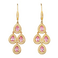 Pink Cubic Zirconia 14k Yellow Gold-Plated Halo Chandelier Earrings ONLY $12.93
