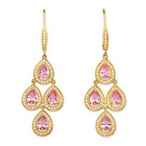 "4.74 TCW Pear-Cut Pink Cubic Zirconia 14k Yellow Gold-Plated Halo Chandelier Earrings (2.25"")"