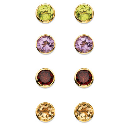 3.80 TCW Round Genuine Gemstone  4-Pair Set of Bezel-Set Stud Earrings in 18k Gold over Sterling Silver at PalmBeach Jewelry