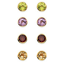 3.80 TCW Round Genuine Gemstone 4-Pair Set of Bezel-Set Stud Earrings in 18k Gold over Sterling Silver