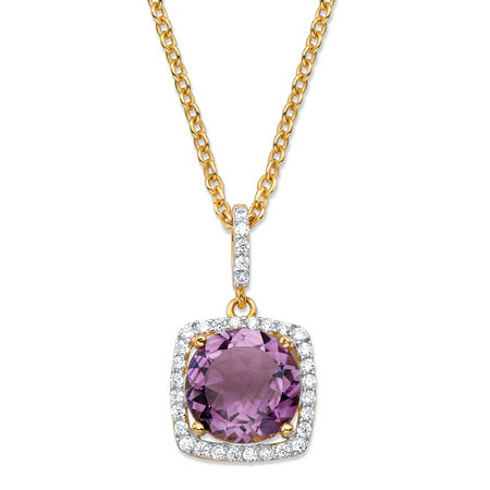 3.60 TCW Round Genuine Purple Amethyst and Cubic Zirconia Halo Pendant Necklace in 14k Yellow Gold over .925 Sterling Silver 18