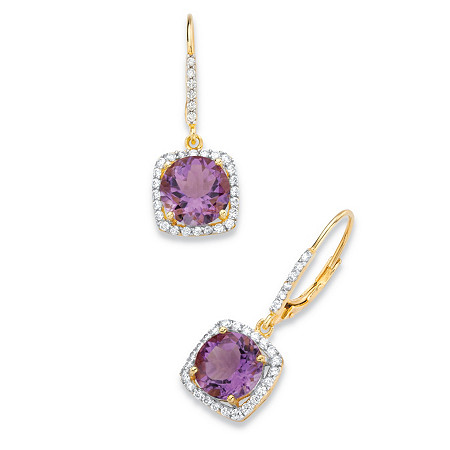 6.04 TCW Round Genuine Purple Amethyst and Cubic Zirconia Halo Drop Earrings in 14k Yellow Gold over .925 Sterling Silver at PalmBeach Jewelry