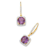 6.04 TCW Round Genuine Purple Amethyst and Cubic Zirconia Halo Drop Earrings in 14k Yellow Gold over .925 Sterling Silver