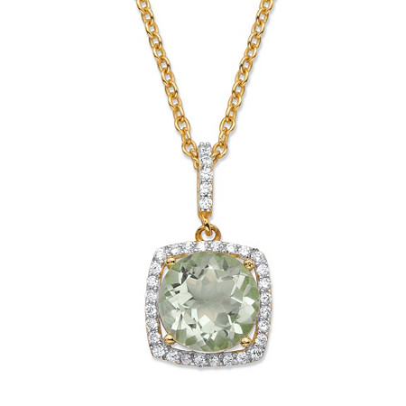 3.60 TCW Round Genuine Green Amethyst and Cubic Zirconia Halo Pendant Necklace in 14k Yellow Gold over .925 Sterling Silver 18