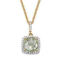 "3.60 TCW Round Genuine Green Amethyst and Cubic Zirconia Halo Pendant Necklace in 14k Yellow Gold over .925 Sterling Silver 18""-20"""