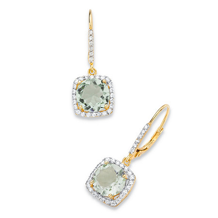 9.34 TCW Round Genuine Green Amethyst and Cubic Zirconia Halo Drop Earrings in 14k Yellow Gold over .925 Sterling Silver at PalmBeach Jewelry