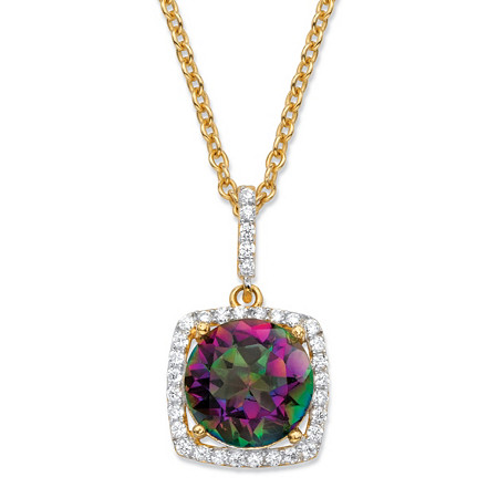 3.60 TCW Round Genuine Mystic Fire Quartz and Cubic Zirconia Halo Pendant Necklace in 14k Yellow Gold over .925 Sterling Silver 18