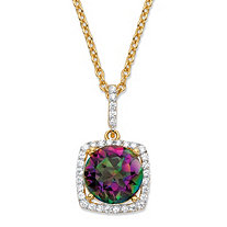 "3.60 TCW Round Genuine Mystic Fire Quartz and Cubic Zirconia Halo Pendant Necklace in 14k Yellow Gold over .925 Sterling Silver 18""-20"""