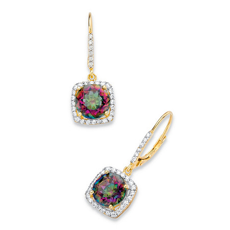 8.14 TCW Round Genuine Mystic Fire Quartz and Cubic Zirconia Halo Drop Earrings in 14k Yellow Gold over .925 Sterling Silver at PalmBeach Jewelry