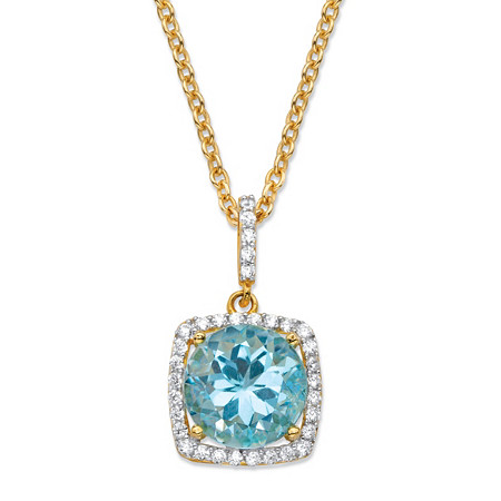 "5.80 TCW Round Genuine Sky Blue Topaz and Cubic Zirconia Halo Pendant Necklace in 14k Yellow Gold over .925 Sterling Silver 18""-20"" at PalmBeach Jewelry"