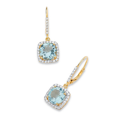 8.14 TCW Round Genuine Sky Blue Topaz and Cubic Zirconia Halo Drop Earrings in 14k Yellow Gold over .925 Sterling Silver at PalmBeach Jewelry