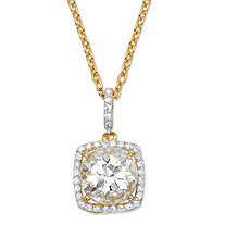 "4.30 TCW Round White Cubic Zirconia Halo Pendant Necklace in 14k Yellow Gold over .925 Sterling Silver 18""-20"""