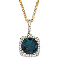 "5.80 TCW Round Genuine London Blue Topaz and Cubic Zirconia Halo Pendant Necklace in 14k Yellow Gold over .925 Sterling Silver 18""-20"""