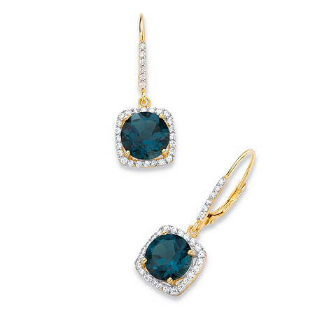 8.14 TCW Round Genuine London Blue Topaz and Cubic Zirconia Halo Drop Earrings in 14k Yellow Gold over .925 Sterling Silver at PalmBeach Jewelry