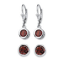 SETA JEWELRY 4 TCW Round Genuine Red Garnet 2-Pair Set of Stud and Drop Earrings in Sterling Silver