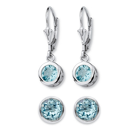 4 TCW Round Genuine Sky Blue Topaz 2-Pair Set of Stud and Drop Earrings in Sterling Silver at PalmBeach Jewelry