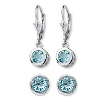 4 TCW Round Genuine Sky Blue Topaz 2-Pair Set of Stud and Drop Earrings in Sterling Silver