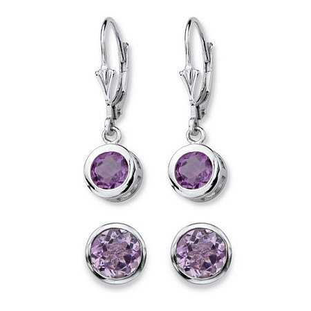 4 TCW Round Genuine Purple Amethyst 2-Pair Set of Stud and Drop Earrings in Sterling Silver at PalmBeach Jewelry