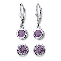 4 TCW Round Genuine Purple Amethyst 2-Pair Set of Stud and Drop Earrings in Sterling Silver