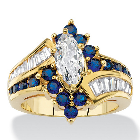 1.53 TCW Marquise-Cut Cubic Zirconia and Simulated Blue Sapphire Bypass Cocktail Ring 14k Yellow Gold-Plated at PalmBeach Jewelry