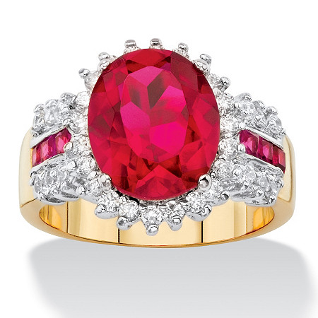 5.97 TCW Oval-Cut Ruby Red and White Cubic Zirconia Halo Cocktail Ring 14k Yellow Gold-Plated at PalmBeach Jewelry