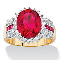 5.97 TCW Oval-Cut Ruby Red and White Cubic Zirconia Halo Cocktail Ring 14k Yellow Gold-Plated