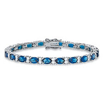 1.39 TCW Oval-Cut Simulated Montana Blue Sapphire and Cubic Zirconia Tennis Bracelet Platinum-Plated 7.5""