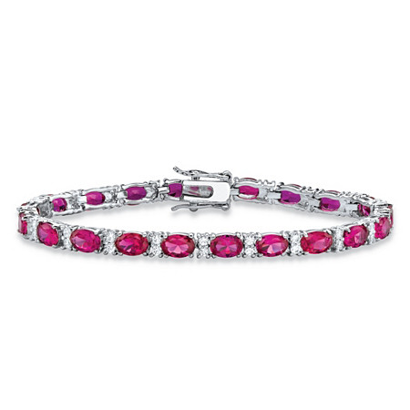 11.39 TCW Oval-Cut Rose Simulated Rhodolite Cubic Zirconia Interlocking-Link Tennis Bracelet Platinum-Plated 7.5