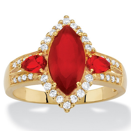 .33 TCW Marquise-Cut Simulated Red Ruby and Cubic Zirconia Halo Cocktail Ring 18k Yellow Gold-Plated at PalmBeach Jewelry