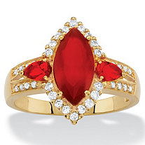 .33 TCW Marquise-Cut Simulated Red Ruby and Cubic Zirconia Halo Cocktail Ring 18k Yellow Gold-Plated