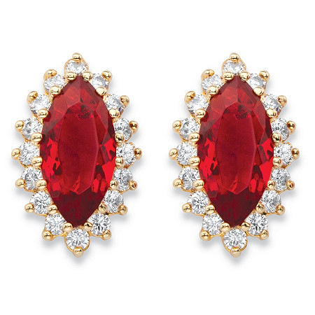 .80 TCW Marquise-Cut Red Glass and Cubic Zirconia 18k Yellow Gold-Plated Halo Stud Earrings at PalmBeach Jewelry
