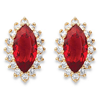 Marquise-Cut Red Glass And Cubic Zirconia Halo Stud Earrings ONLY $14.93