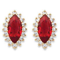 .80 TCW Marquise-Cut Simulated Red Ruby and Cubic Zirconia 18k Yellow Gold-Plated Halo Stud Earrings
