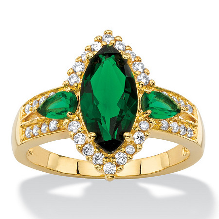 .33 TCW Marquise-Cut Simulated Green Emerald and Cubic Zirconia 18k Yellow Gold-Plated Halo Cocktail Ring at PalmBeach Jewelry