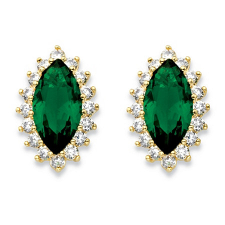 Marquise-Cut Simulated Emerald and Cubic Zirconia Halo Earrings 4.40 TCW 18k Gold-Plated at PalmBeach Jewelry