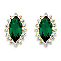 Marquise-Cut Simulated Emerald and Cubic Zirconia Halo Earrings 4.40 TCW 18k Gold-Plated